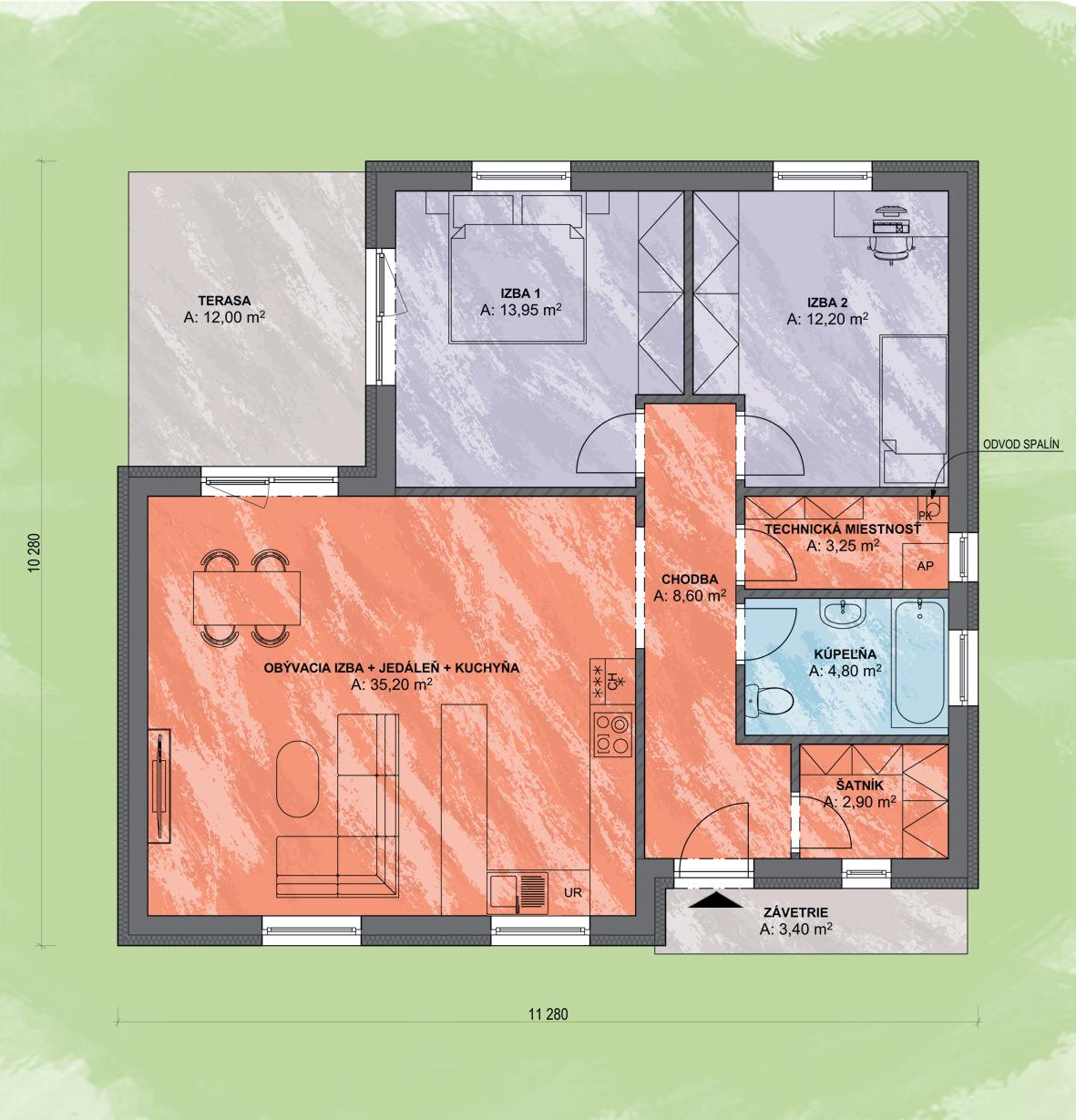 Rokko Design Podorys - LEA 5   Familyhouse